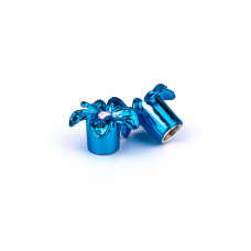 Колпачек на нипель ONRIDE (AV/SV - Auto/Schrader) синий цветок. уп 2 шт