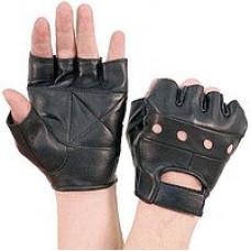 Велоперчатки кожаные чёрные